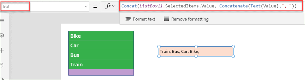 PowerApps listbox get selected items