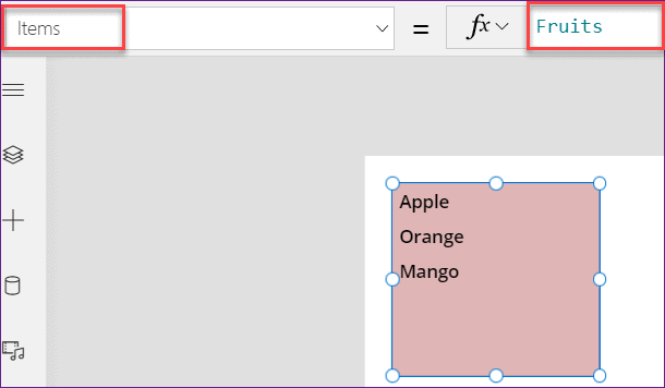 Remove list box item in PowerApps