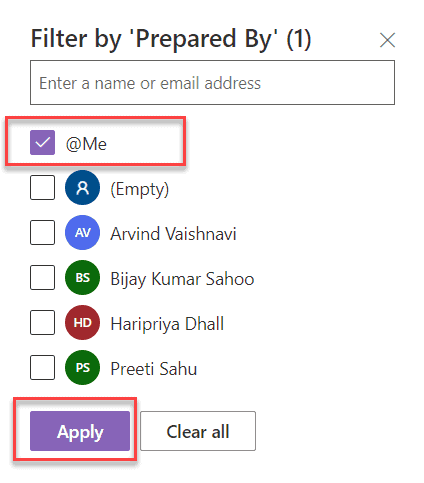SharePoint modern list view filter by current user