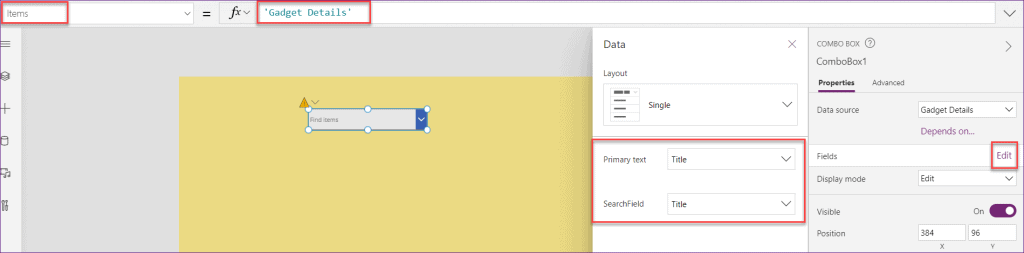 combo box sharepoint list Power Apps