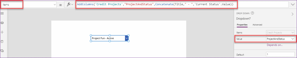 how to use multiple columns in PowerApps dropdown