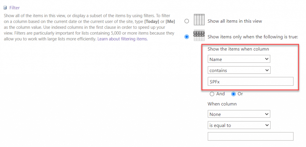 sharepoint list view filter contains