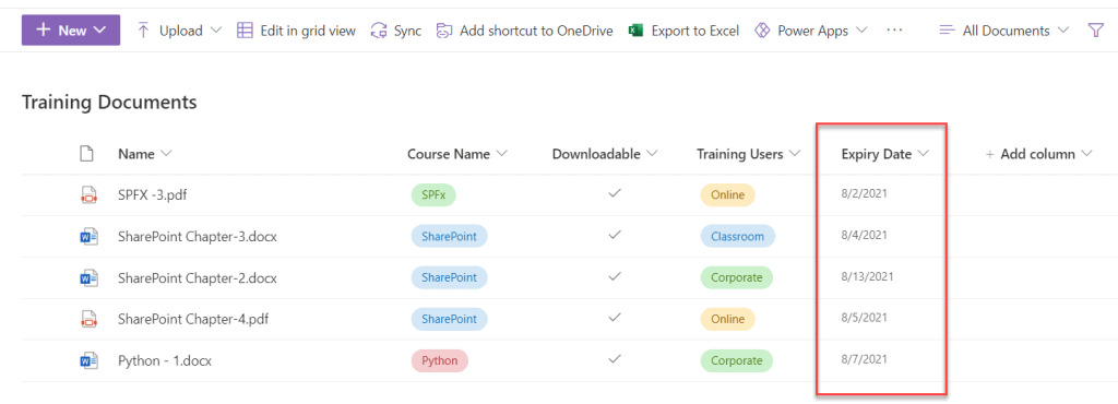 sharepoint online list view filter by date range