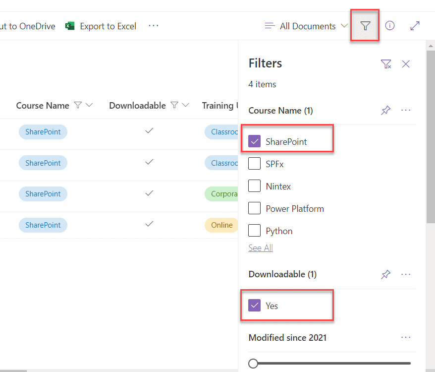sharepoint online list view filter multiple values