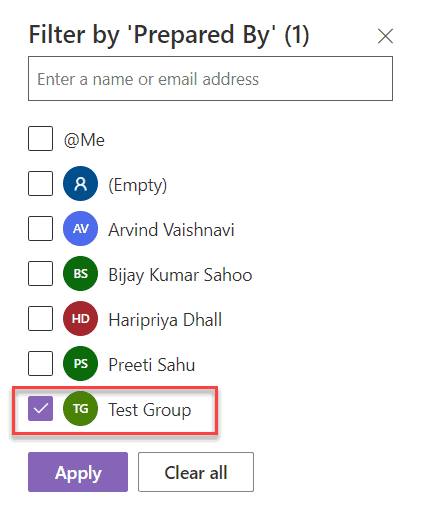 sharepoint online modern list view filter by current user group