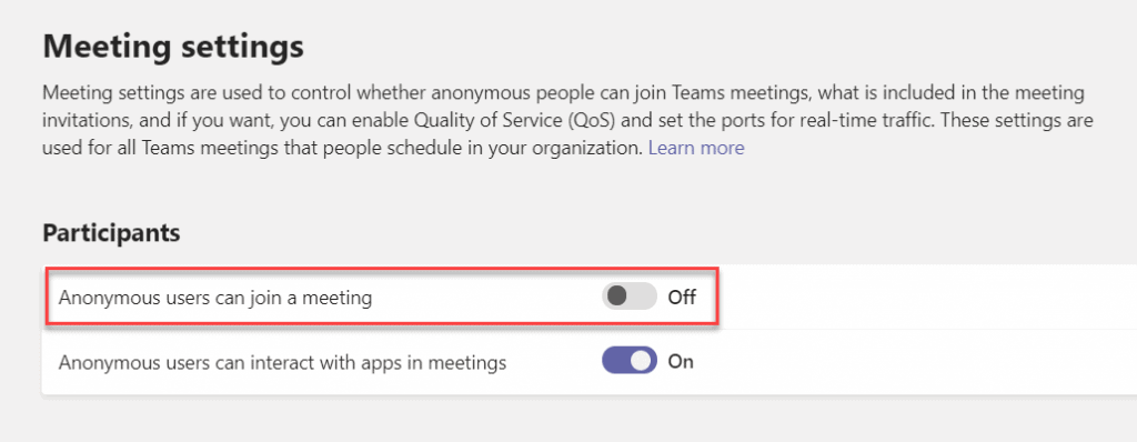 Disable anonymous to participate in teams meeting