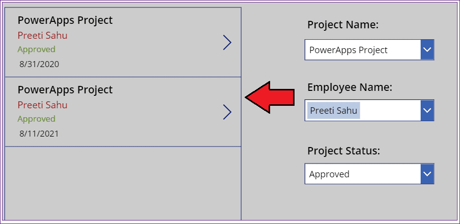 Dropdown filter gallery in Powerapps