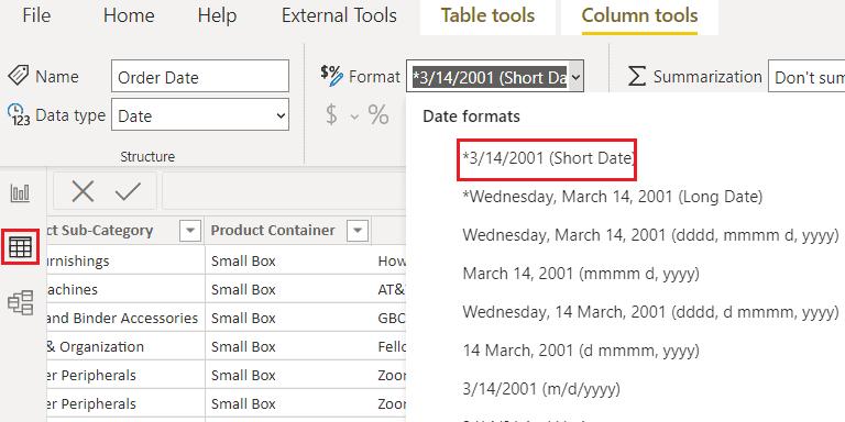 Format date data type on Power BI Data view