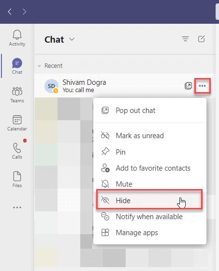 Hide chat in Microsoft Teams