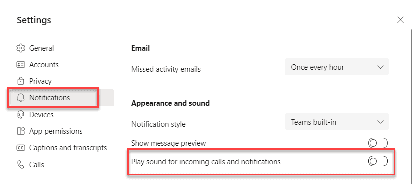 How can I turn off notification sounds in Microsoft Teams