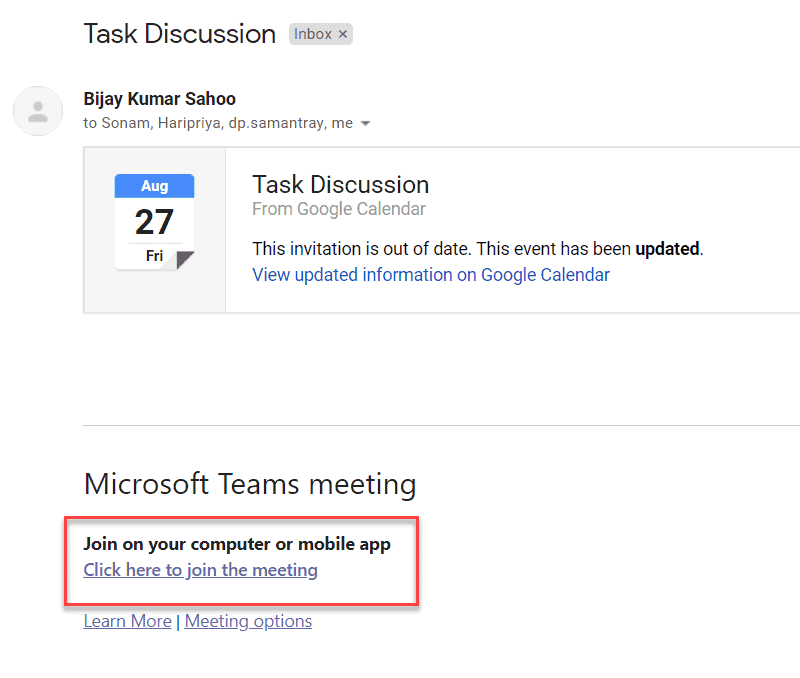 How to Invite Gmail user to Microsoft Teams meeting