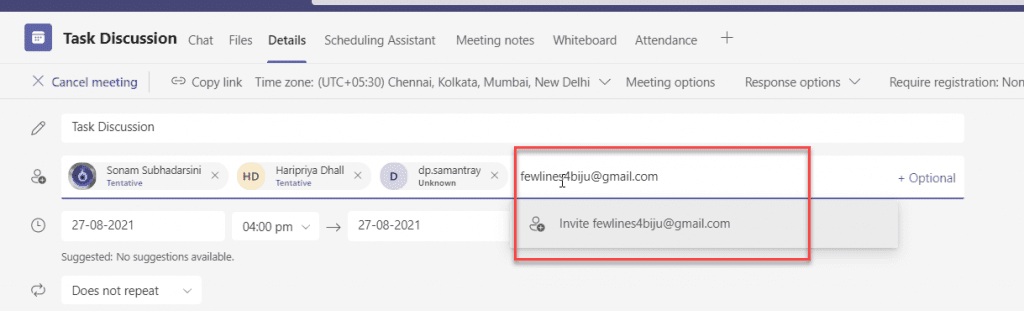 Invite Gmail user to Microsoft Teams meeting