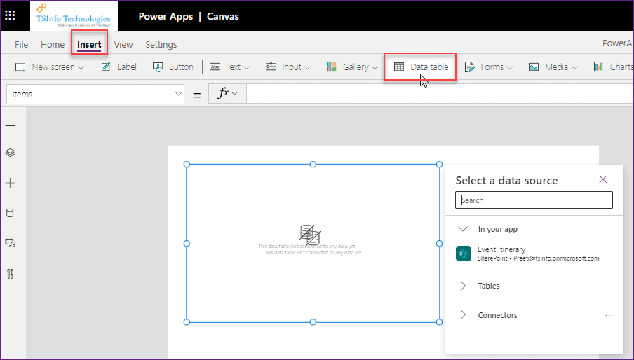 PowerApps Display SharePoint List records