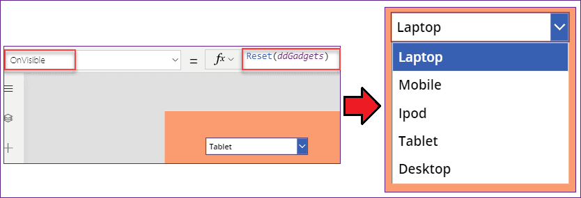 PowerApps dropdown clear selection