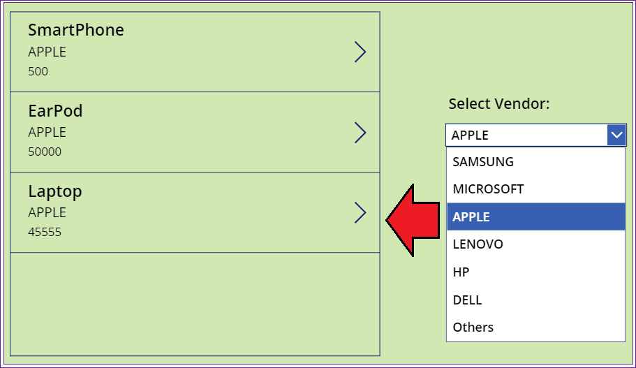 PowerApps dropdown filter gallery