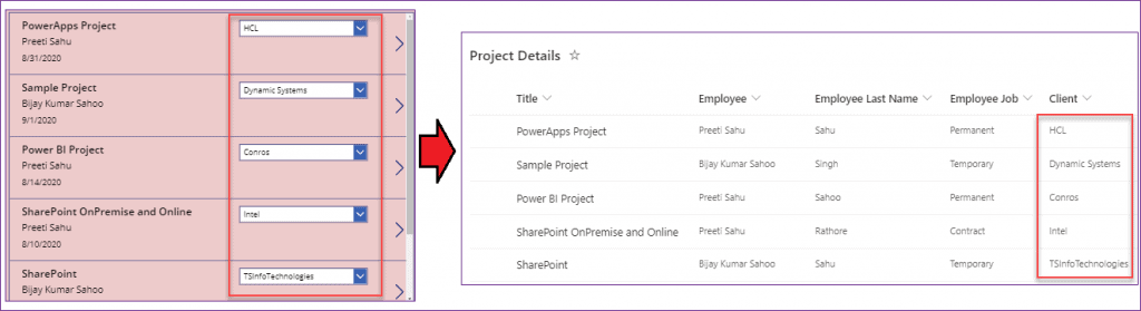 PowerApps gallery dropdown items