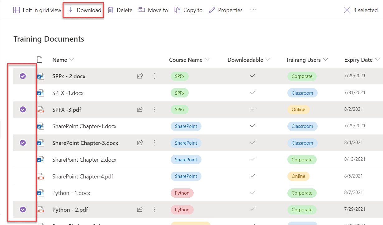 SharePoint download multiple files