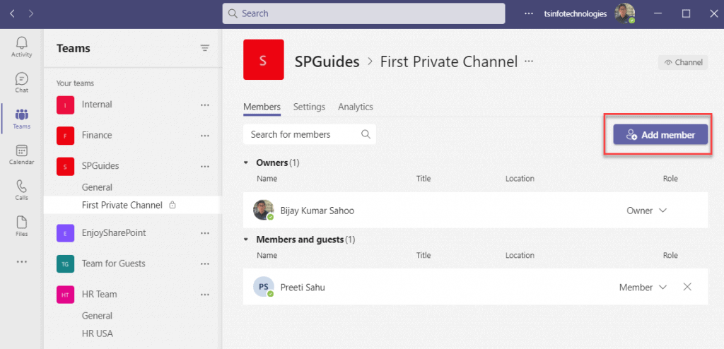add a guest to a private channel in teams