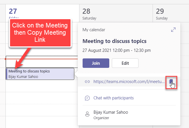 copy a meeting link in a Team Meeting