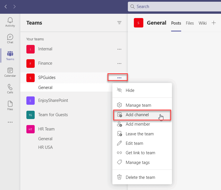 create a private channel in teams