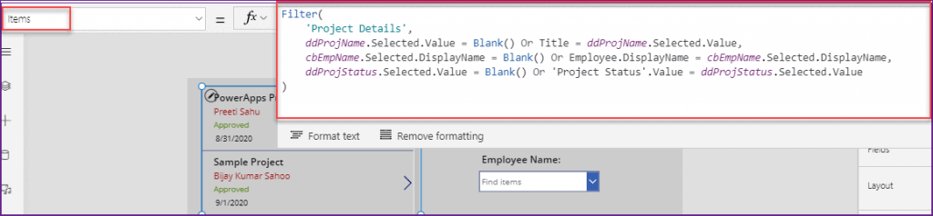 filter PowerApps gallery based on Dropdown