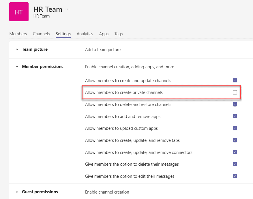 Prevent users from adding private channels in Teams