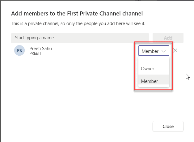how to add members to a private channel in Microsoft teams