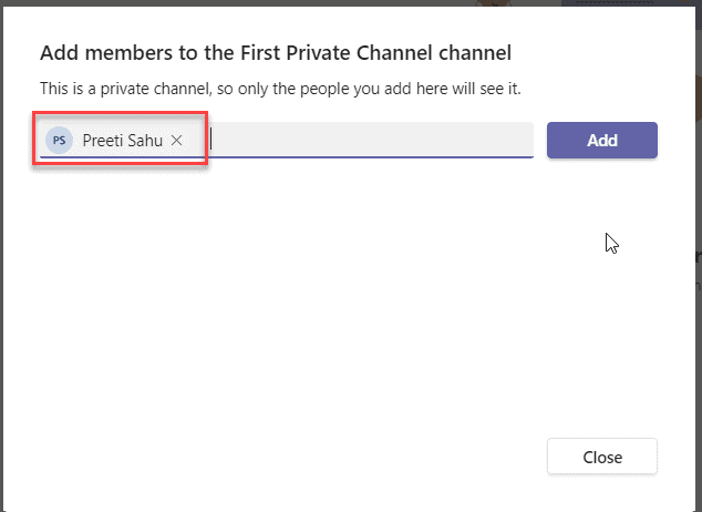 how to add members to a private channel in teams