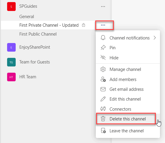 how to delete a private channel in teams