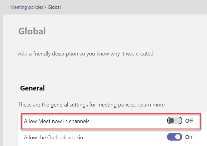 microsoft teams disable meet now in channel