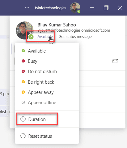 microsoft teams how to show always available