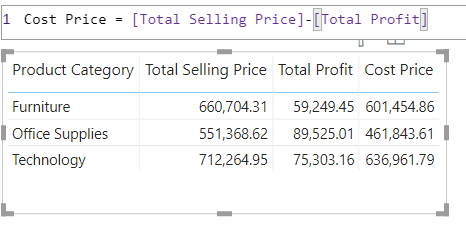 power bi measure substract two measures