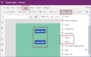 Add Export and Import control in PowerApps