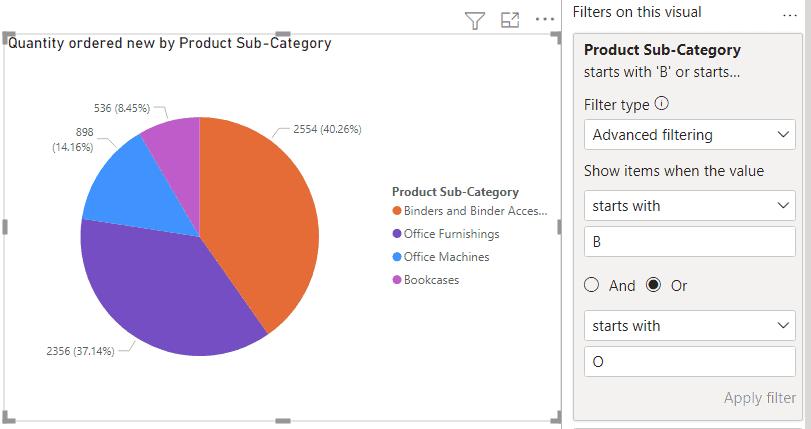 Advance filtering on Power BI Pie chart