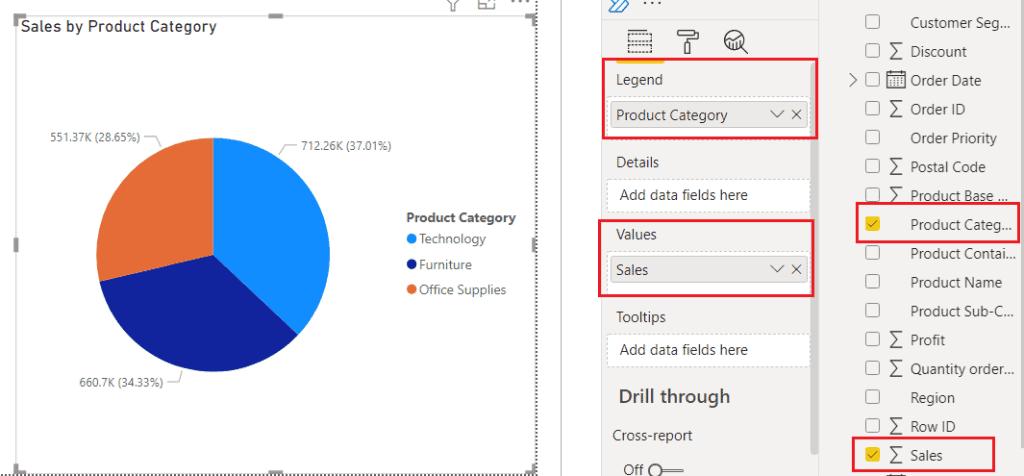 Create a Pie chart on Power BI