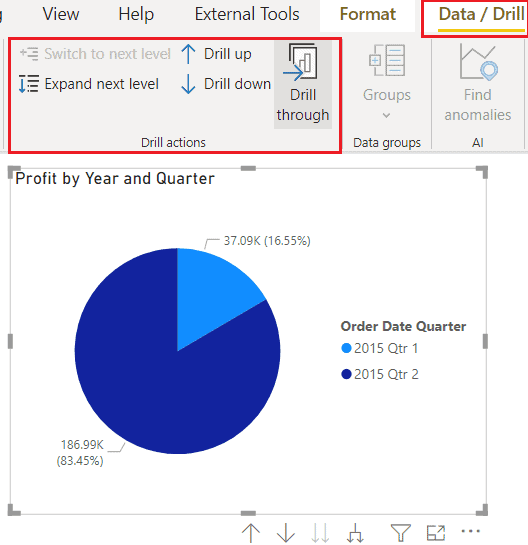 Data drill through on Power BI Pie Chart