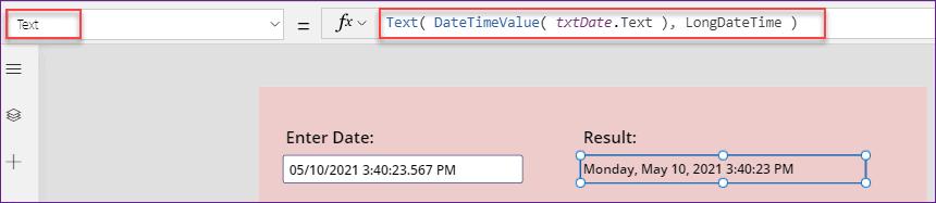 Power Apps DateTimeValue function