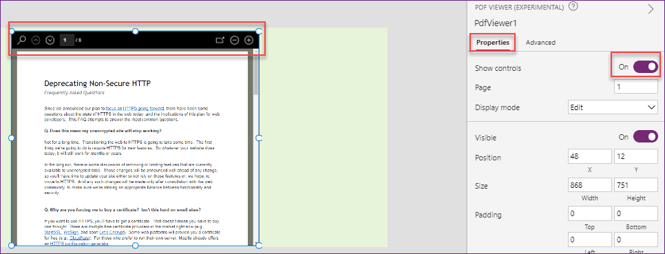 Power Apps PDF Viewer control