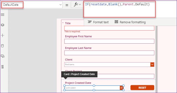 Power Apps Reset Date in DatePicker