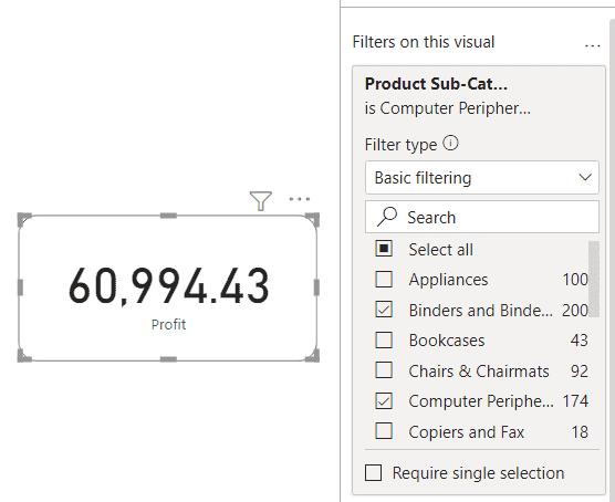 Power BI Card visual filter