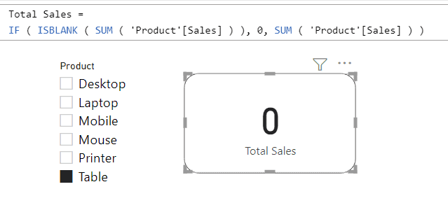Power BI Card visual show 0 instead of Blank