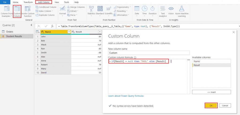Power BI IF statement custom column