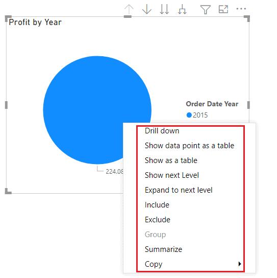 Power BI Pie chart Data Drill