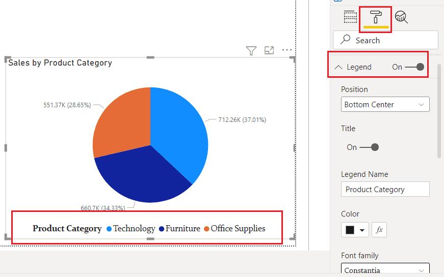 Power BI Pie chart format