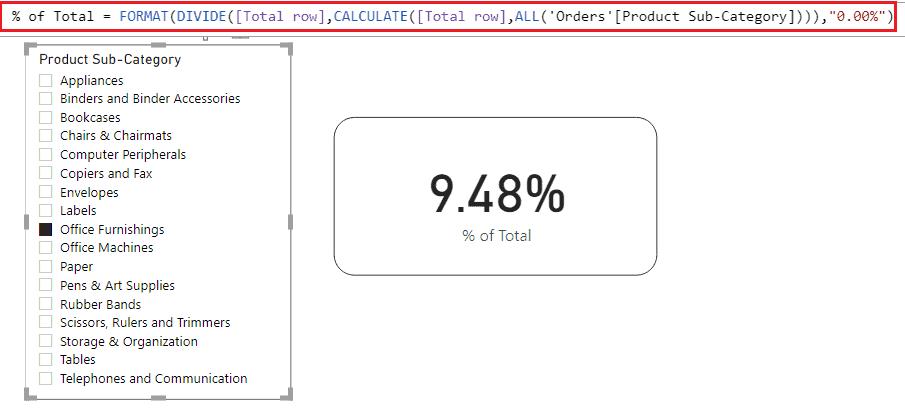 Power BI card percentage