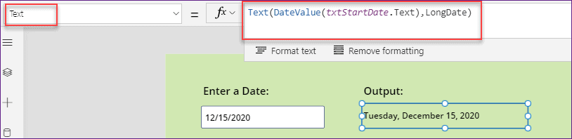 PowerApps DateValue function