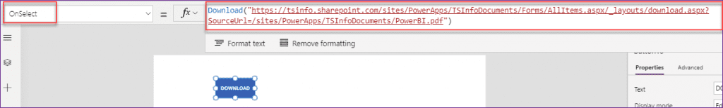 PowerApps button download file