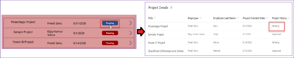 PowerApps button update items in SharePoint list