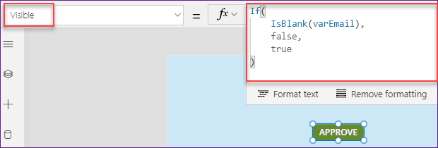PowerApps hide a button based on user