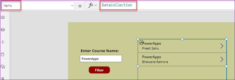 button filter gallery in PowerApps
